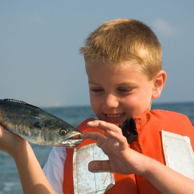 Boy On Charter Fishing Boat ,Spanish Mackerel Bite
